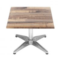 600mm Square Rustic Maple Isotop Table Top with Silver Roma Coffee Base