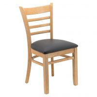Ladder Back Chair with Charcoal Cushion in Oak